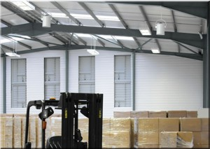 Destratification fans used in a warehouse